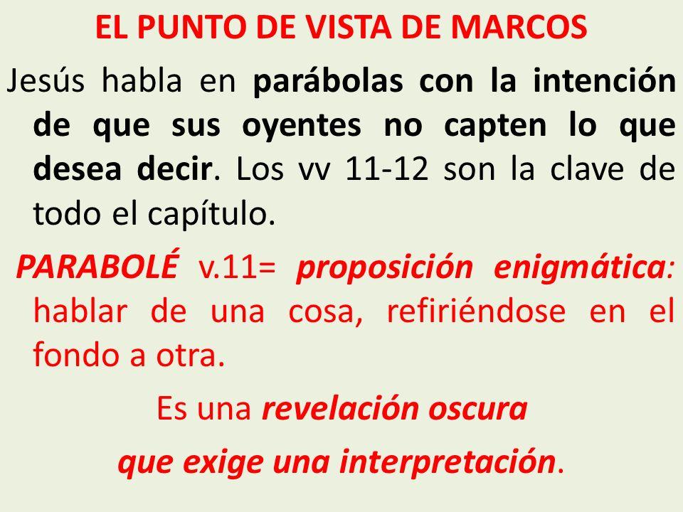 EL PUNTO DE VISTA DE MARCOS Jesús habla en parábolas con la intención de que sus oyentes no capten lo que desea decir. Los vv 11-12 son la clave de to