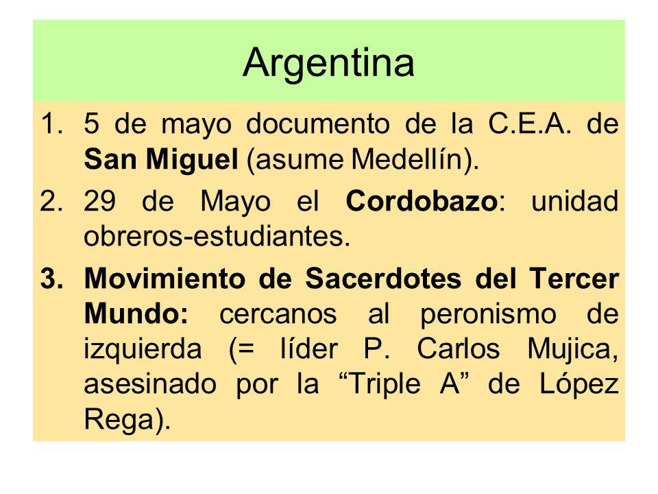 Argentina 1.5 de mayo documento de la C.E.A. de San Miguel (asume Medellín). 2.29 de Mayo el Cordobazo: unidad obreros-estudiantes. 3.Movimiento de Sa