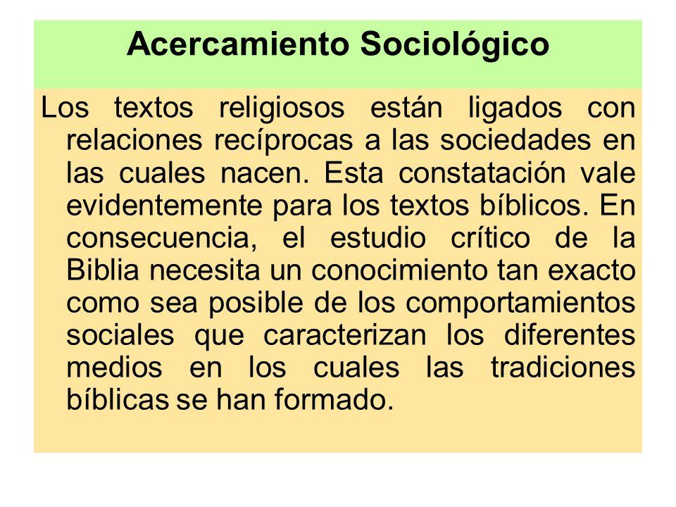 Acercamiento Sociológico Los textos religiosos están ligados con relaciones recíprocas a las sociedades en las cuales nacen. Esta constatación vale ev
