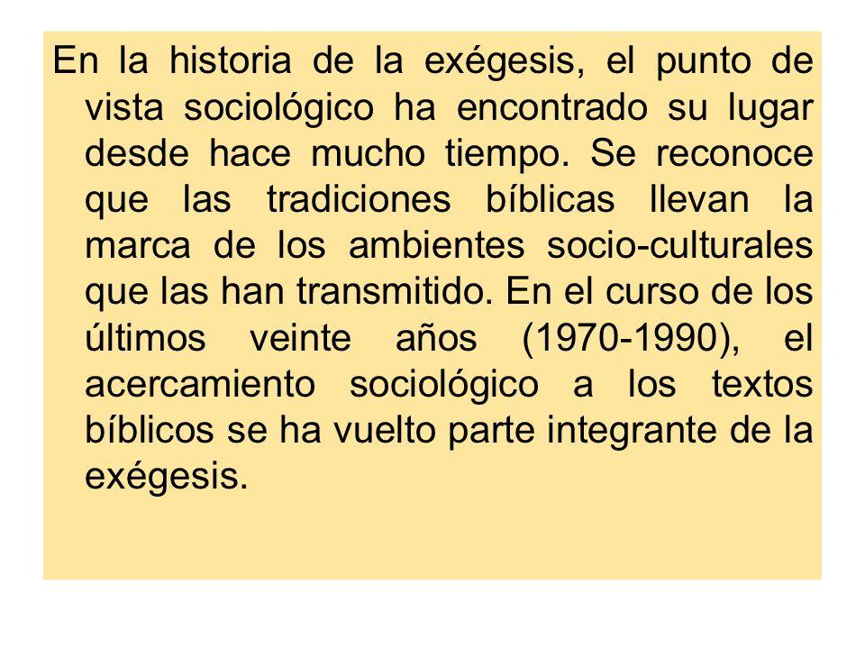 En la historia de la exégesis, el punto de vista sociológico ha encontrado su lugar desde hace mucho tiempo. Se reconoce que las tradiciones bíblicas