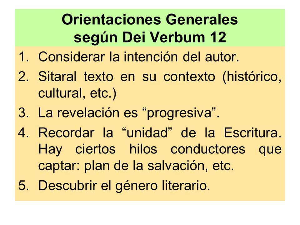 Orientaciones Generales según Dei Verbum 12 1.Considerar la intención del autor. 2.Sitaral texto en su contexto (histórico, cultural, etc.) 3.La revel