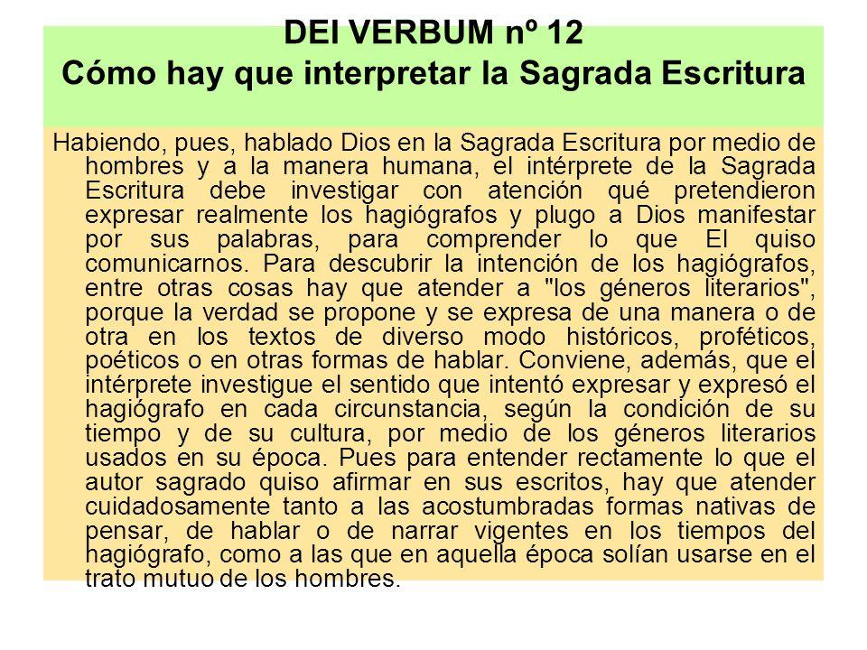 DEI VERBUM nº 12 Cómo hay que interpretar la Sagrada Escritura Habiendo, pues, hablado Dios en la Sagrada Escritura por medio de hombres y a la manera