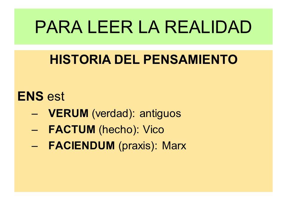 PARA LEER LA REALIDAD HISTORIA DEL PENSAMIENTO ENS est –VERUM (verdad): antiguos –FACTUM (hecho): Vico –FACIENDUM (praxis): Marx