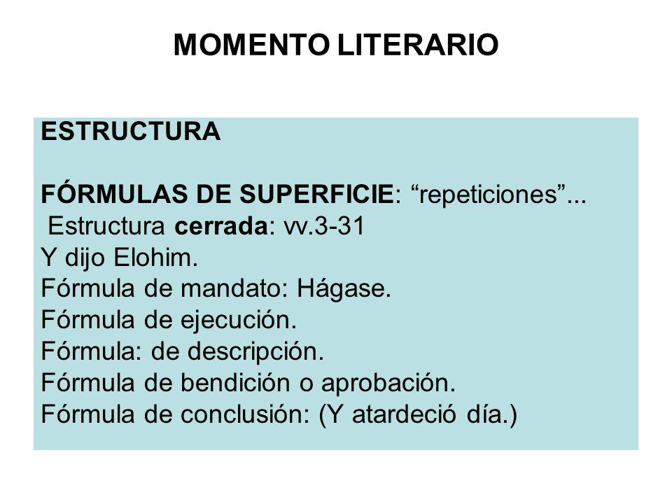 MOMENTO LITERARIO ESTRUCTURA FÓRMULAS DE SUPERFICIE: repeticiones... Estructura cerrada: vv.3-31 Y dijo Elohim. Fórmula de mandato: Hágase. Fórmula de