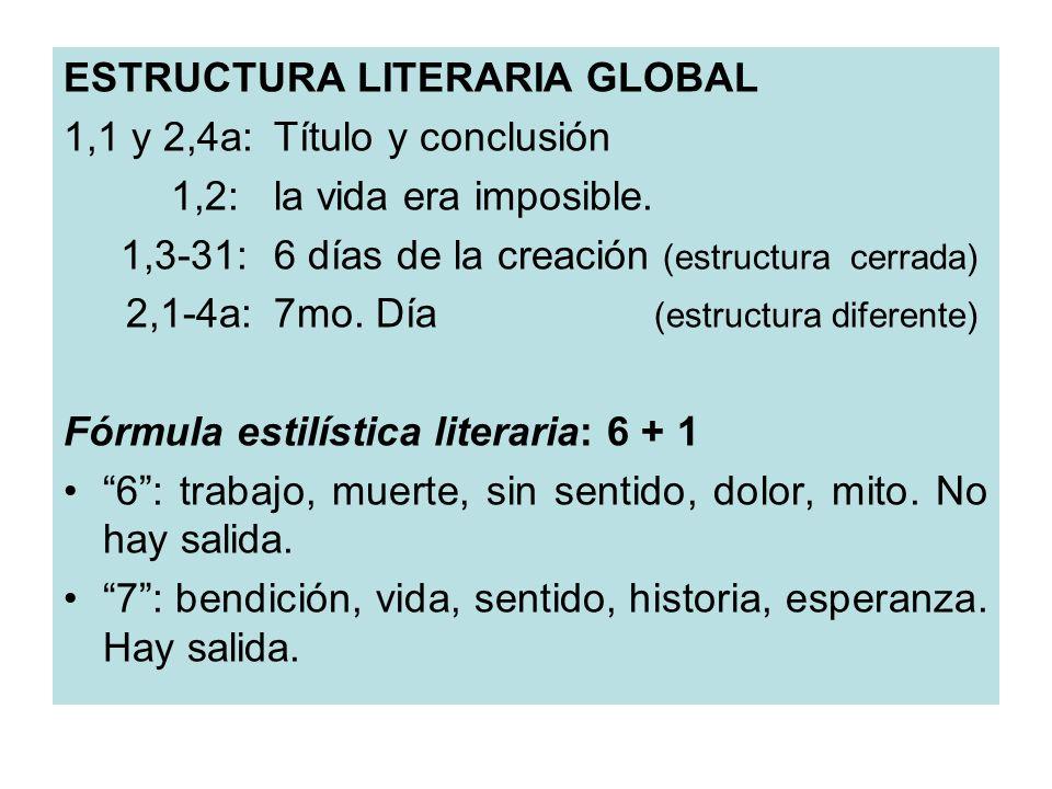 ESTRUCTURA LITERARIA GLOBAL 1,1 y 2,4a:Título y conclusión 1,2:la vida era imposible. 1,3-31:6 días de la creación (estructura cerrada) 2,1-4a:7mo. Dí