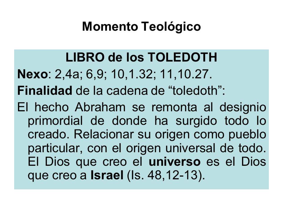 Momento Teológico LIBRO de los TOLEDOTH Nexo: 2,4a; 6,9; 10,1.32; 11,10.27. Finalidad de la cadena de toledoth: El hecho Abraham se remonta al designi