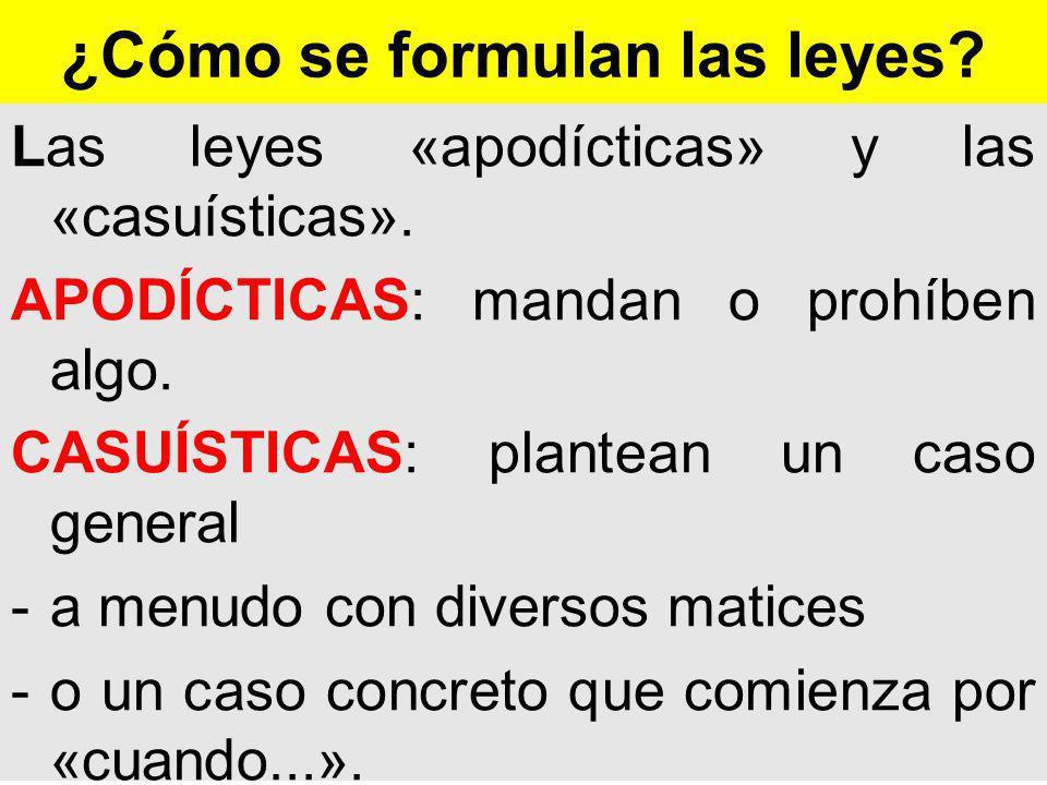 ¿Cómo se formulan las leyes.Las leyes «apodícticas» y las «casuísticas».