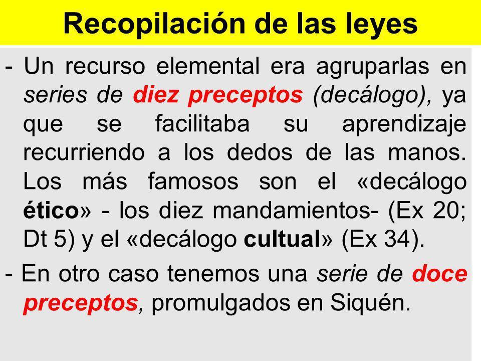 Recopilación de las leyes - Un recurso elemental era agruparlas en series de diez preceptos (decálogo), ya que se facilitaba su aprendizaje recurriendo a los dedos de las manos.