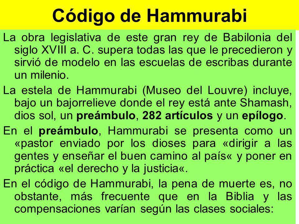 Código de Hammurabi La obra legislativa de este gran rey de Babilonia del siglo XVIII a.