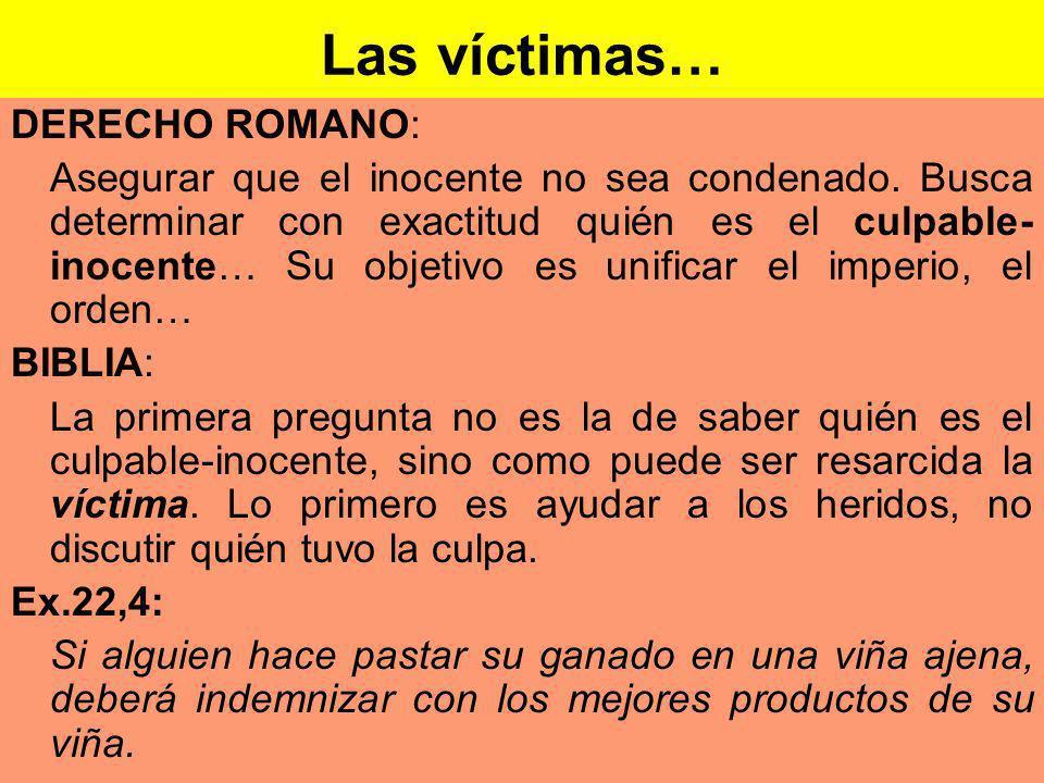 Las víctimas… DERECHO ROMANO: Asegurar que el inocente no sea condenado.