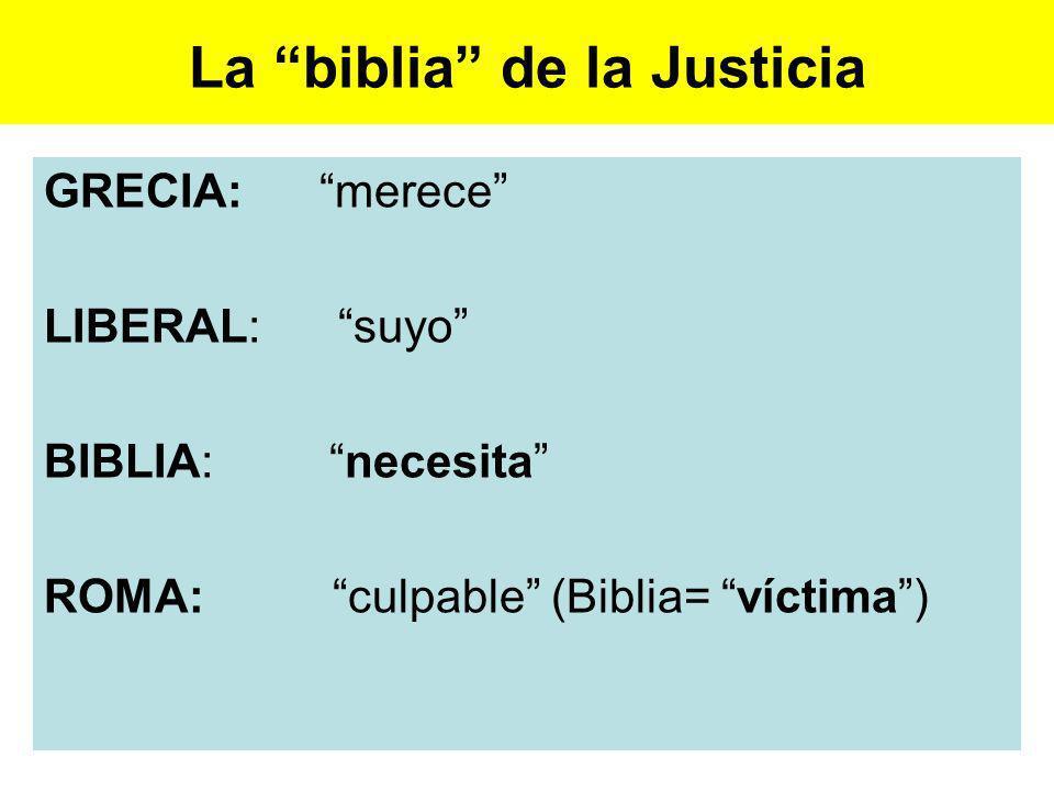 La biblia de la Justicia GRECIA: merece LIBERAL: suyo BIBLIA: necesita ROMA: culpable (Biblia= víctima)
