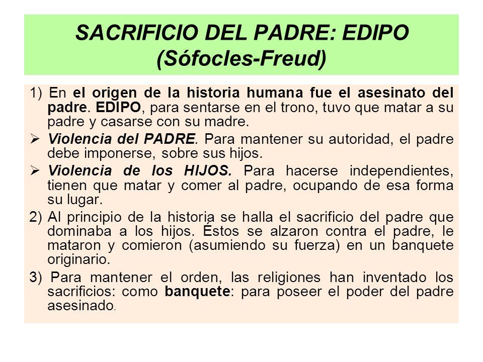 SACRIFICIO DEL PADRE: EDIPO (Sófocles-Freud) 1) En el origen de la historia humana fue el asesinato del padre. EDIPO, para sentarse en el trono, tuvo