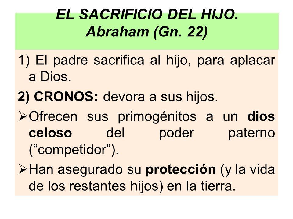 EL SACRIFICIO DEL HIJO. Abraham (Gn. 22) 1) El padre sacrifica al hijo, para aplacar a Dios. 2) CRONOS: devora a sus hijos. Ofrecen sus primogénitos a