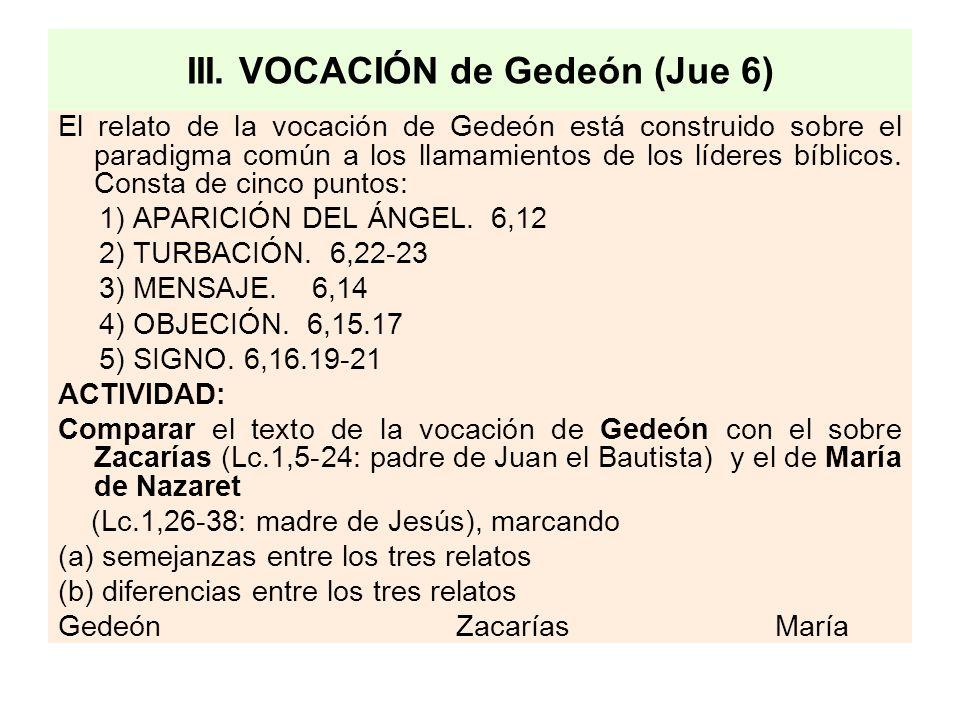 III. VOCACIÓN de Gedeón (Jue 6) El relato de la vocación de Gedeón está construido sobre el paradigma común a los llamamientos de los líderes bíblicos