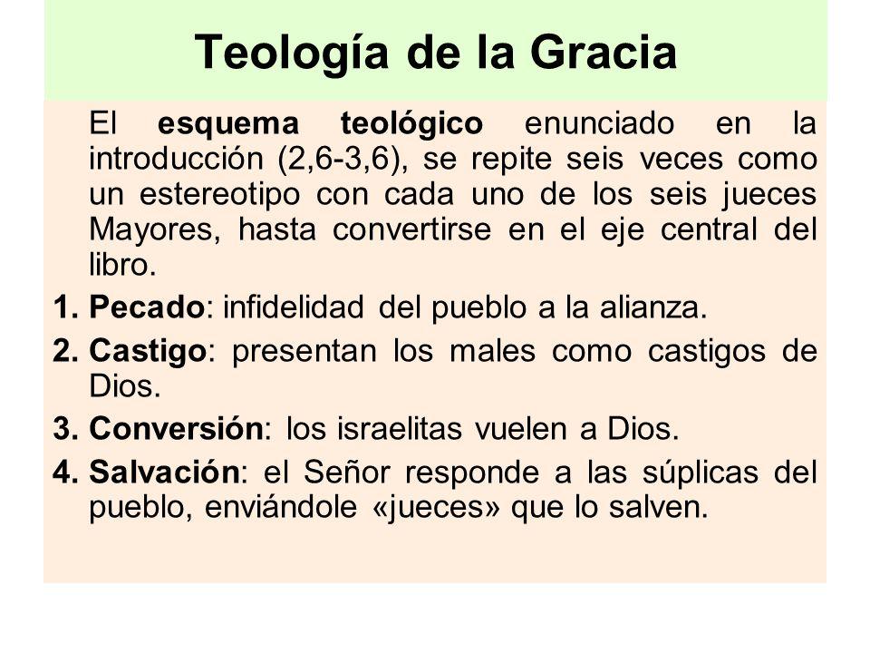 Teología de la Gracia El esquema teológico enunciado en la introducción (2,6-3,6), se repite seis veces como un estereotipo con cada uno de los seis j