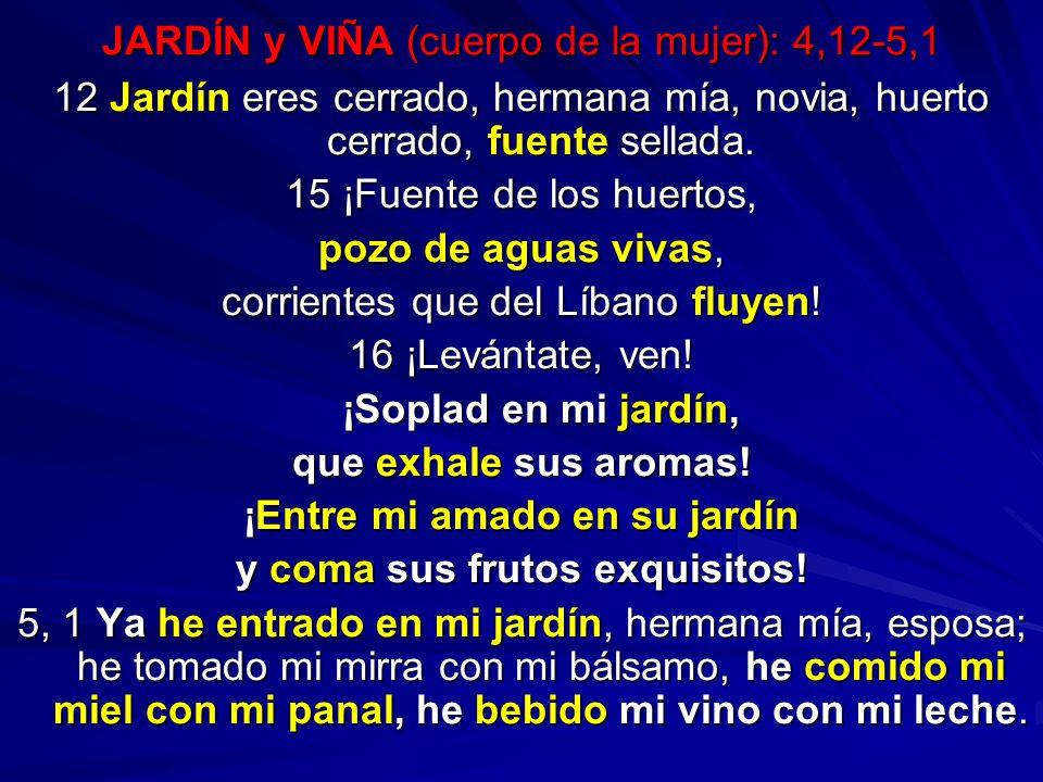 JARDÍN y VIÑA (cuerpo de la mujer): 4,12-5,1 12 Jardín eres cerrado, hermana mía, novia, huerto cerrado, fuente sellada. 15 ¡Fuente de los huertos, po