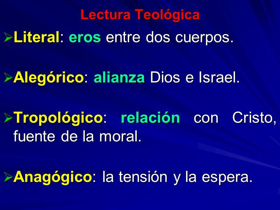 Lectura Teológica Literal: eros entre dos cuerpos. Literal: eros entre dos cuerpos. Alegórico: alianza Dios e Israel. Alegórico: alianza Dios e Israel
