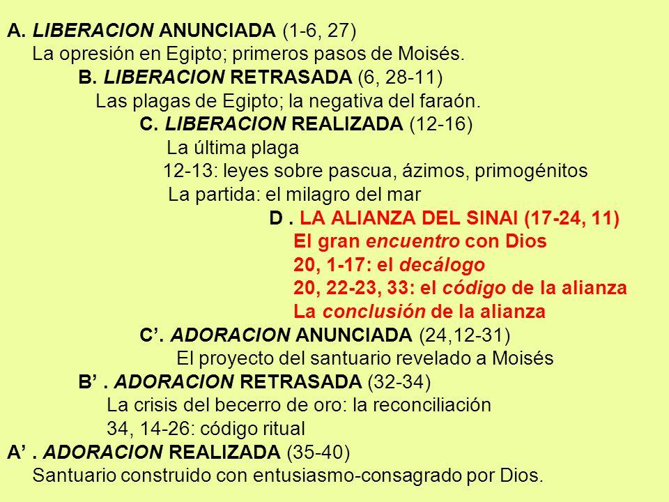 A. LIBERACION ANUNCIADA (1-6, 27) La opresión en Egipto; primeros pasos de Moisés. B. LIBERACION RETRASADA (6, 28-11) Las plagas de Egipto; la negativ