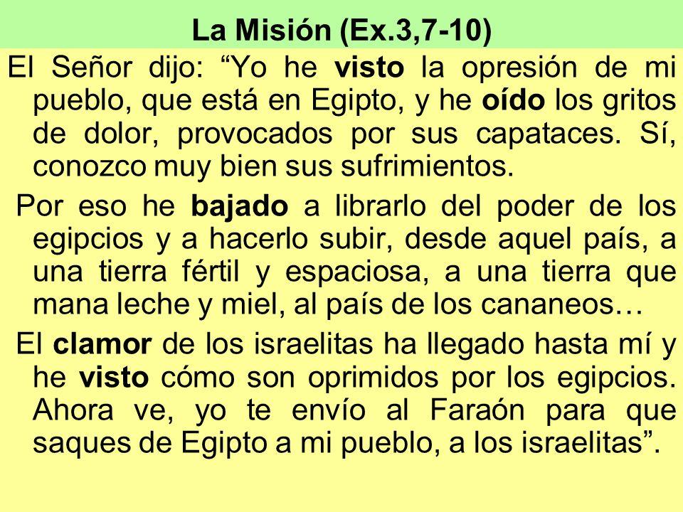 La Misión (Ex.3,7-10) El Señor dijo: Yo he visto la opresión de mi pueblo, que está en Egipto, y he oído los gritos de dolor, provocados por sus capat