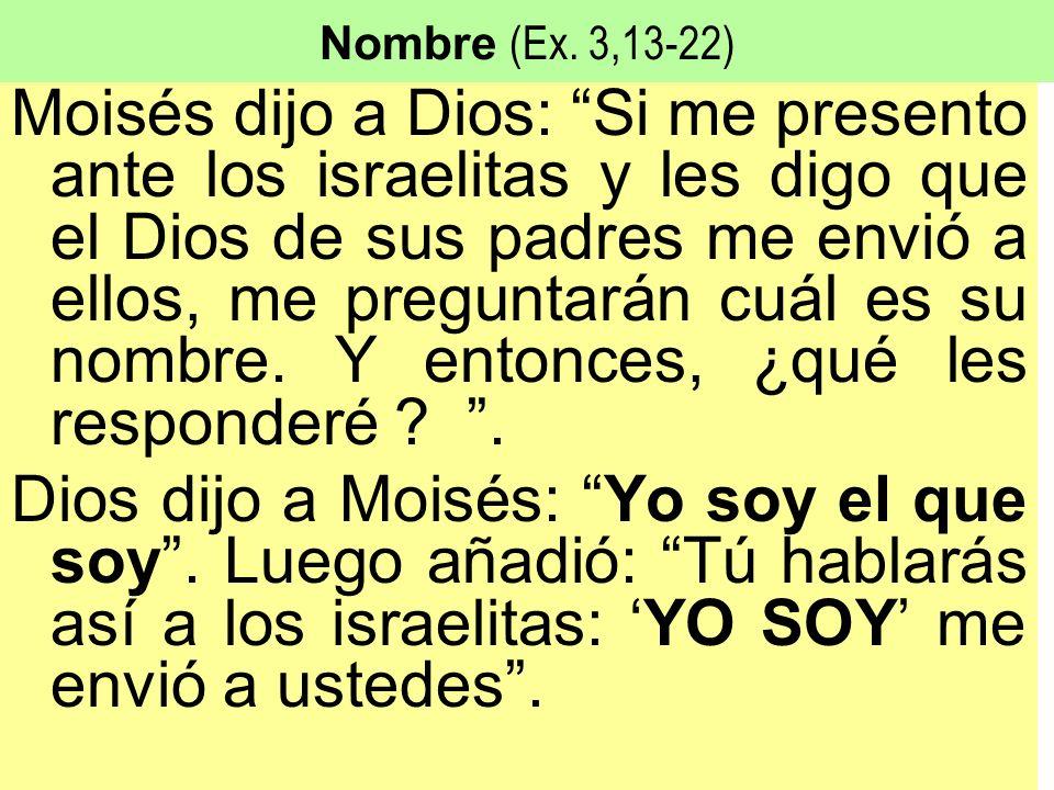 Nombre (Ex. 3,13-22) Moisés dijo a Dios: Si me presento ante los israelitas y les digo que el Dios de sus padres me envió a ellos, me preguntarán cuál