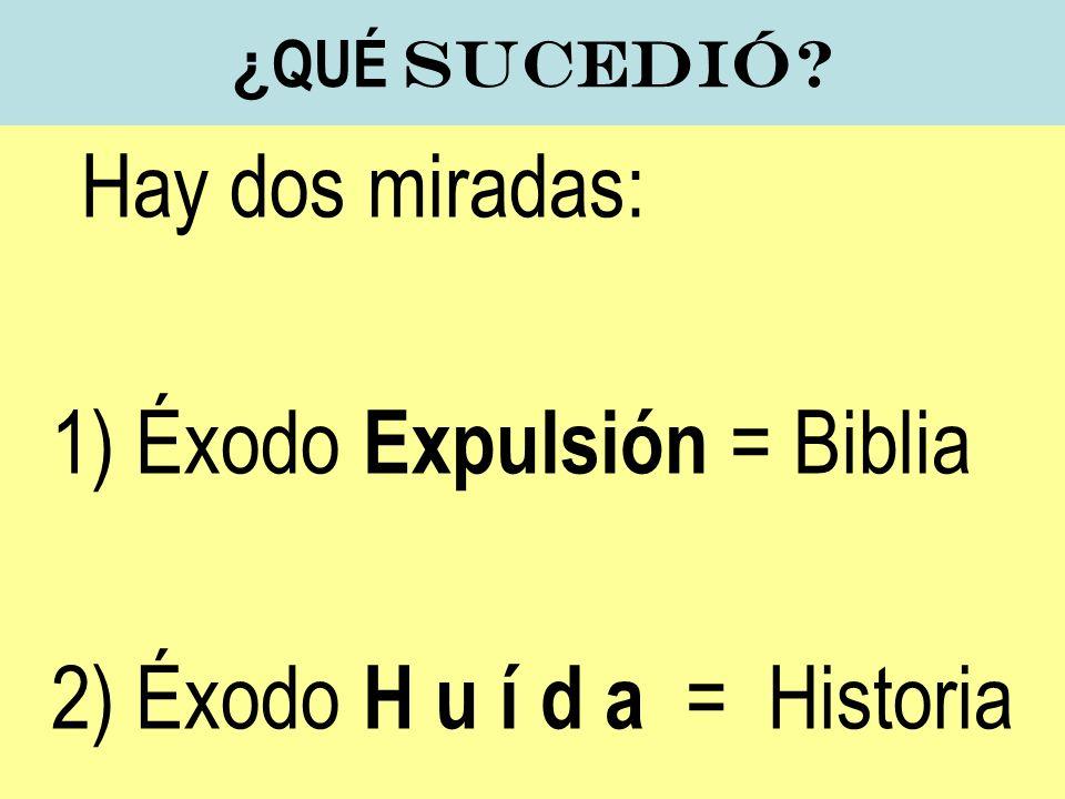 ¿ QUÉ sucedió? Hay dos miradas: 1) Éxodo Expulsión = Biblia 2) Éxodo H u í d a = Historia