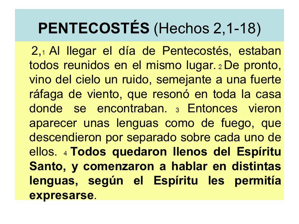 PENTECOSTÉS (Hechos 2,1-18) 2, 1 Al llegar el día de Pentecostés, estaban todos reunidos en el mismo lugar. 2 De pronto, vino del cielo un ruido, seme