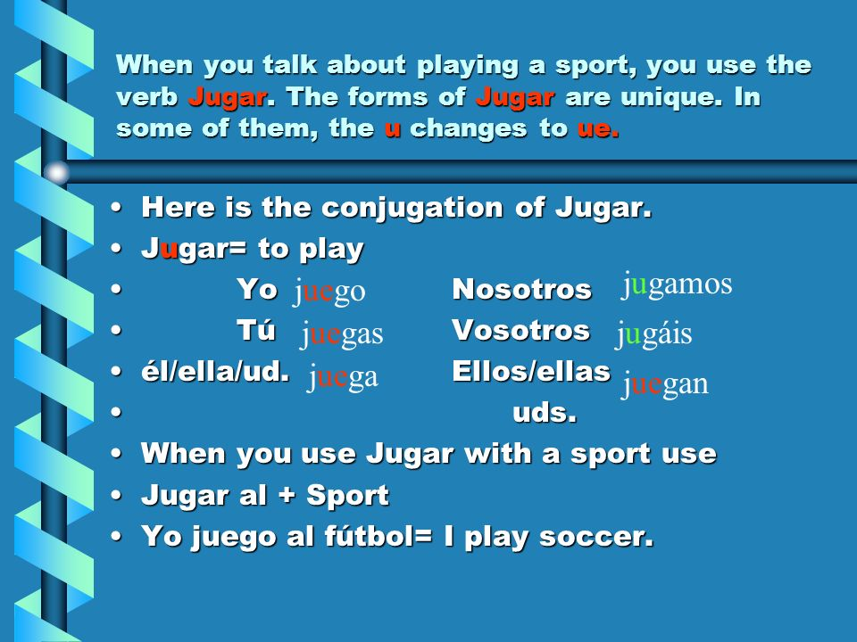 When you talk about playing a sport, you use the verb Jugar. The forms of Jugar are unique. In some of them, the u changes to ue. Here is the conjugat