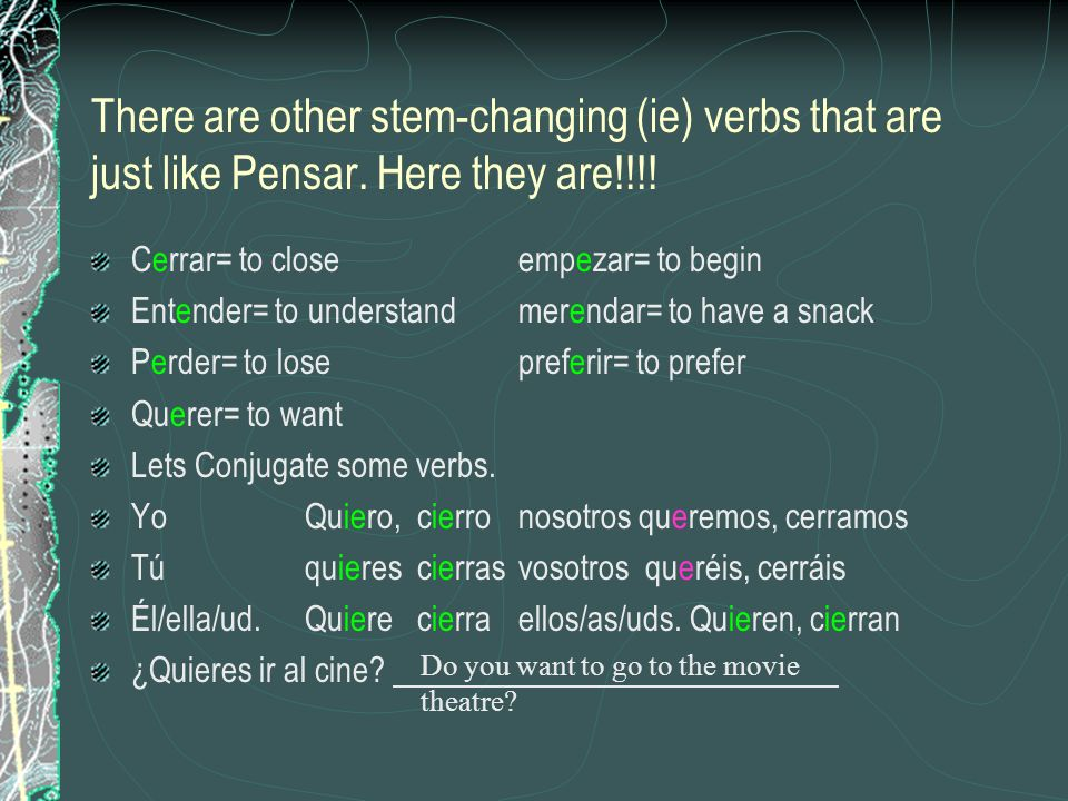There are other stem-changing (ie) verbs that are just like Pensar.