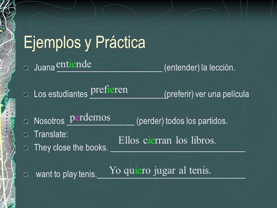 Ejemplos y Práctica Juana (entender) la lección. Los estudiantes (preferir) ver una película Nosotros (perder) todos los partidos. Translate: They clo