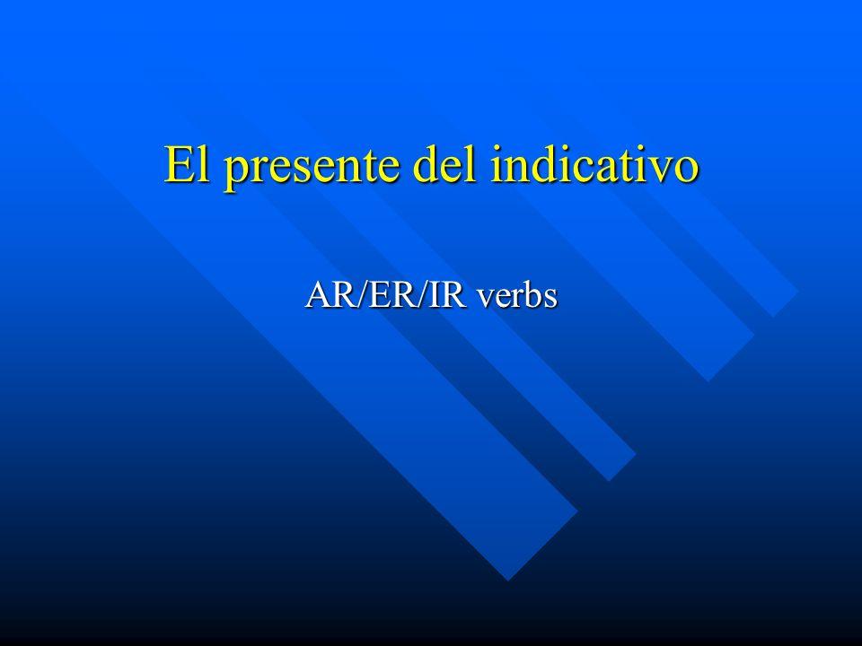 Para formar el presente del indicativo de los verbo regulares, se quitan las terminaciones -ar, -er, -ir del infinitivo y se agregan a la raíz verbal las terminaciones que corresponden a cada pronombre, como se ve abajo.