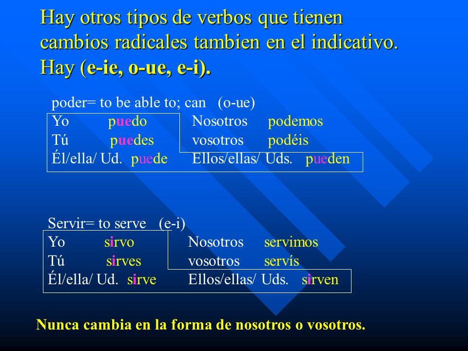 Hay otros tipos de verbos que tienen cambios radicales tambien en el indicativo. Hay (e-ie, o-ue, e-i). poder= to be able to; can (o-ue) Yo puedoNosot
