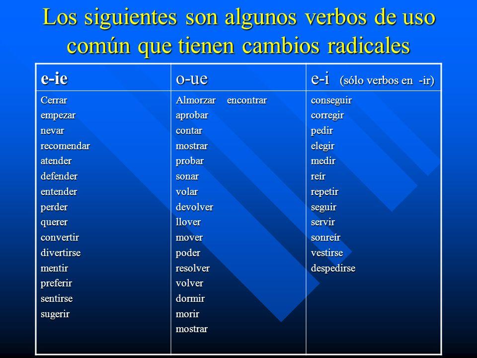 Los siguientes son algunos verbos de uso común que tienen cambios radicales e-ieo-ue e-i (sólo verbos en -ir) Cerrarempezarnevarrecomendaratenderdefen