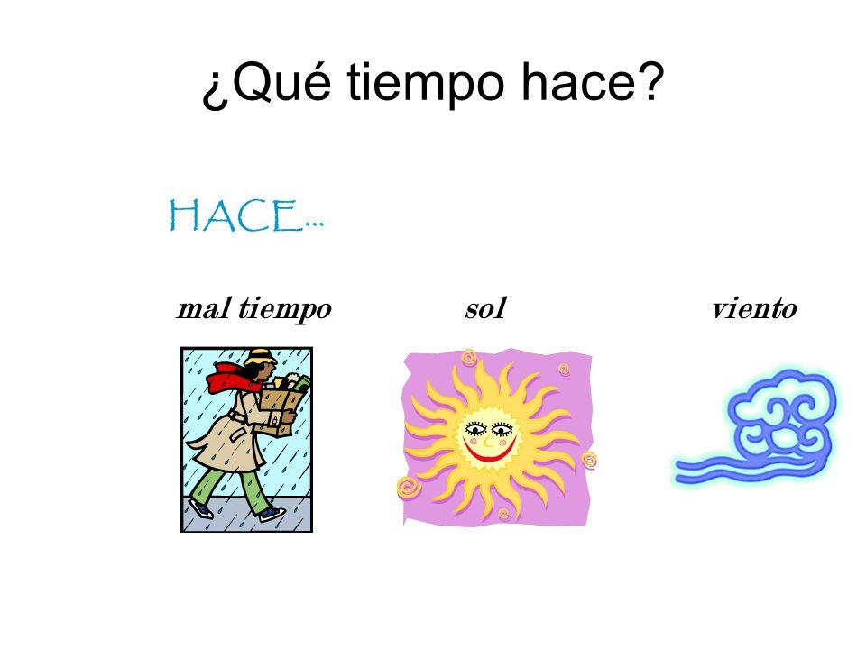 ¿Qué tiempo hace? HACE… It is… It is… buen tiempo calor fresco frío brrr…