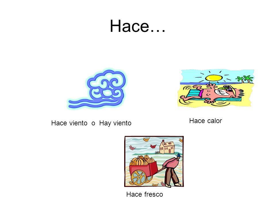 HACE… Hace buen tiempo Hace mal tiempo Hace sol o Hay sol Hace frío