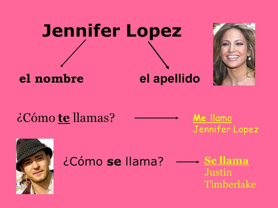 Jennifer Lopez el nombre el apellido ¿Cómo te llamas.