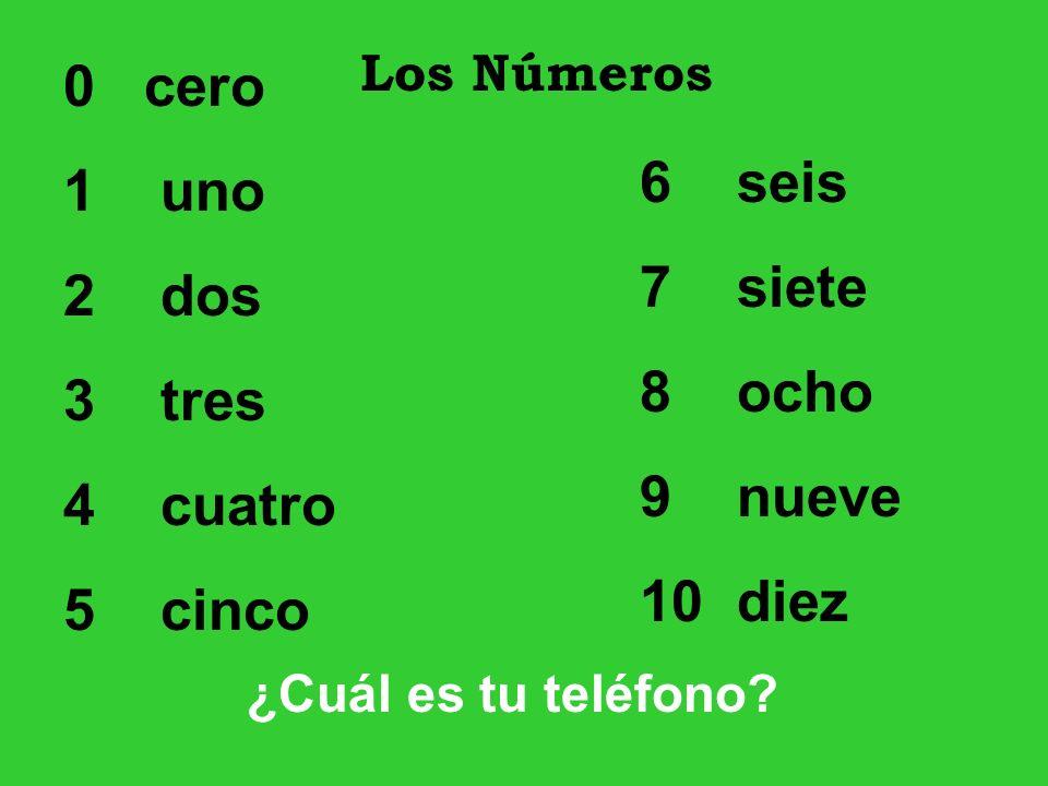 0 cero 1 uno 2 dos 3 tres 4 cuatro 5 cinco 6 seis 7 siete 8 ocho 9 nueve 10 diez Los Números ¿Cuál es tu teléfono?