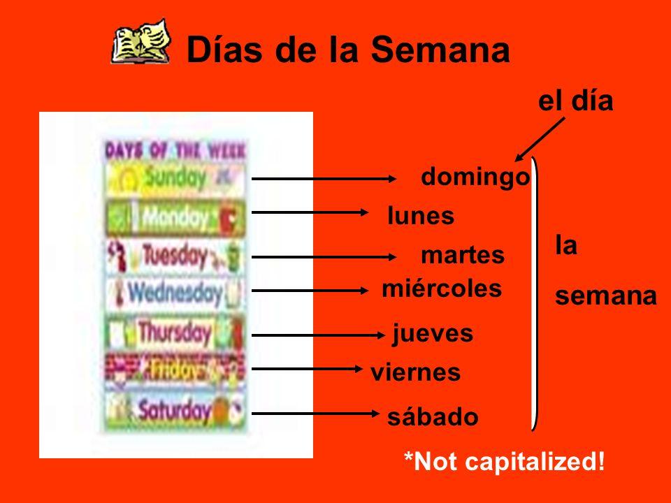 Días de la Semana domingo lunes martes miércoles jueves viernes sábado *Not capitalized.