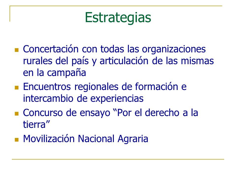 Estrategias Concertación con todas las organizaciones rurales del país y articulación de las mismas en la campaña Encuentros regionales de formación e