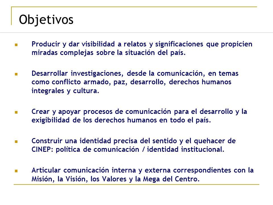 Objetivos Producir y dar visibilidad a relatos y significaciones que propicien miradas complejas sobre la situación del país. Desarrollar investigacio