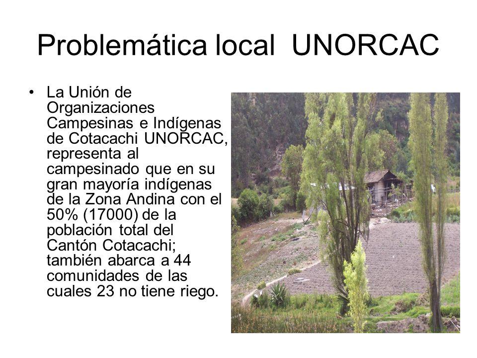 Problemática local UNORCAC La Unión de Organizaciones Campesinas e Indígenas de Cotacachi UNORCAC, representa al campesinado que en su gran mayoría in