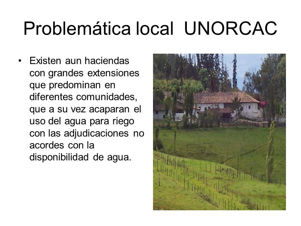 Problemática local UNORCAC Existen aun haciendas con grandes extensiones que predominan en diferentes comunidades, que a su vez acaparan el uso del ag