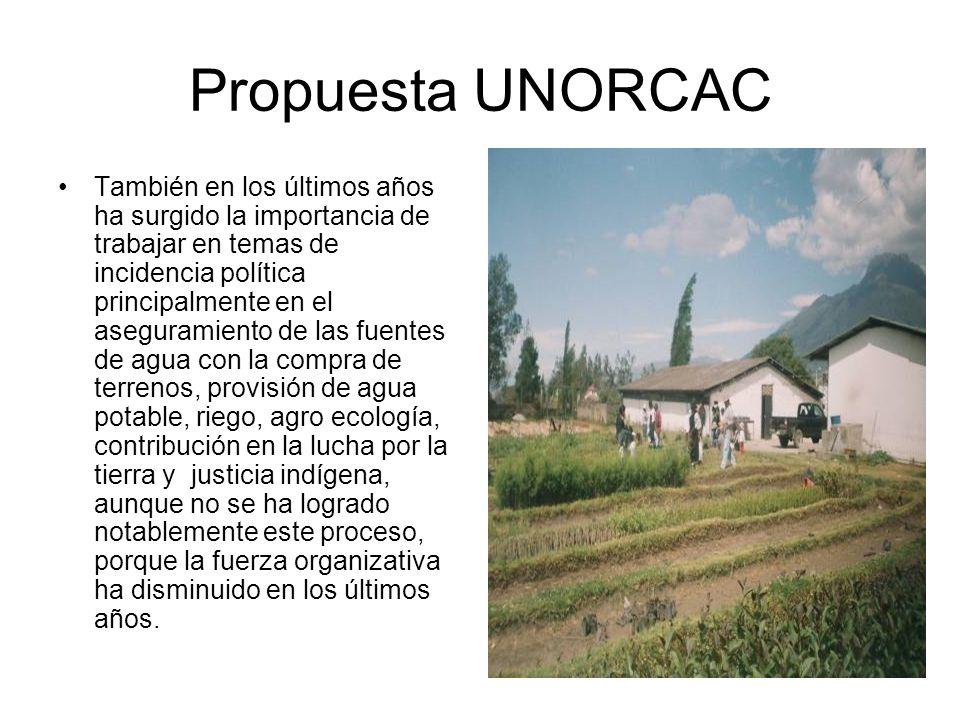 Propuesta UNORCAC También en los últimos años ha surgido la importancia de trabajar en temas de incidencia política principalmente en el aseguramiento