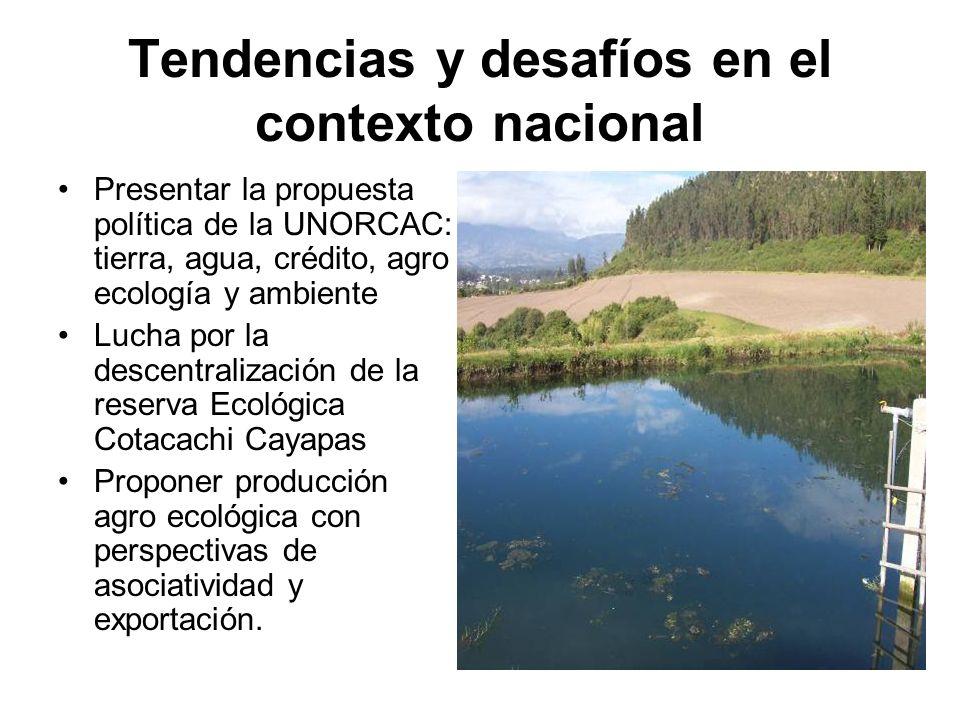 Tendencias y desafíos en el contexto nacional Presentar la propuesta política de la UNORCAC: tierra, agua, crédito, agro ecología y ambiente Lucha por
