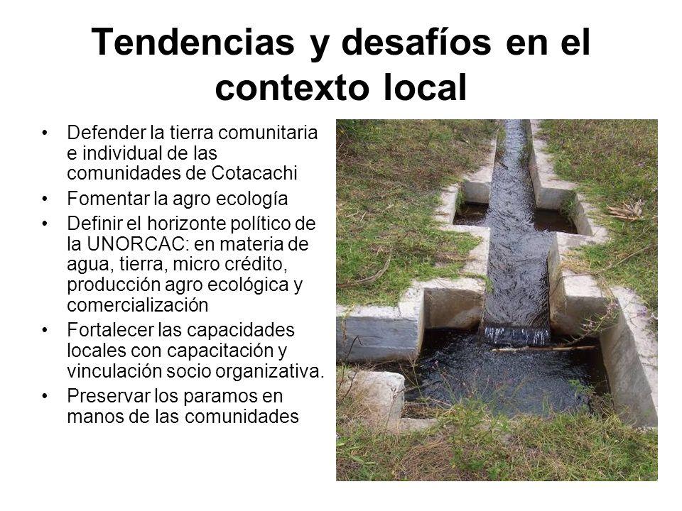 Tendencias y desafíos en el contexto local Defender la tierra comunitaria e individual de las comunidades de Cotacachi Fomentar la agro ecología Defin