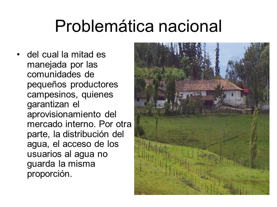 Problemática nacional Se puede decir que menos del 30% del agua es usada por mas del 70% de usuarios rurales, mientras que el 70% del agua se encuentra adjudicada a grandes fincas o haciendas.Citado por Camaren, 1999.