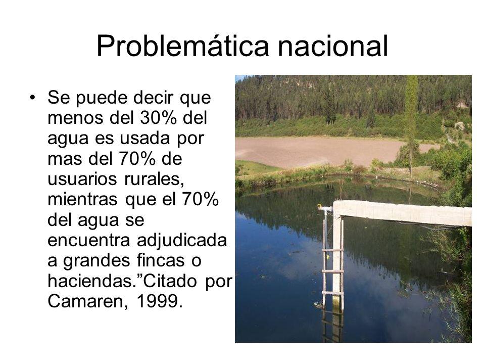 Problemática nacional Se puede decir que menos del 30% del agua es usada por mas del 70% de usuarios rurales, mientras que el 70% del agua se encuentr