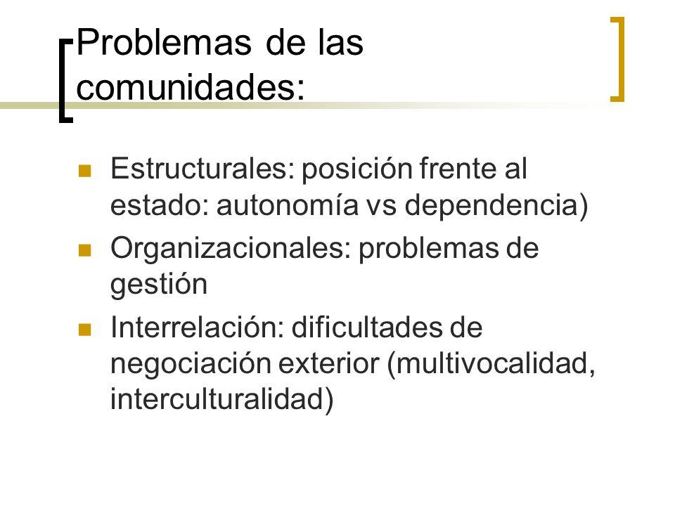 Problemas de las comunidades: Estructurales: posición frente al estado: autonomía vs dependencia) Organizacionales: problemas de gestión Interrelación: dificultades de negociación exterior (multivocalidad, interculturalidad)