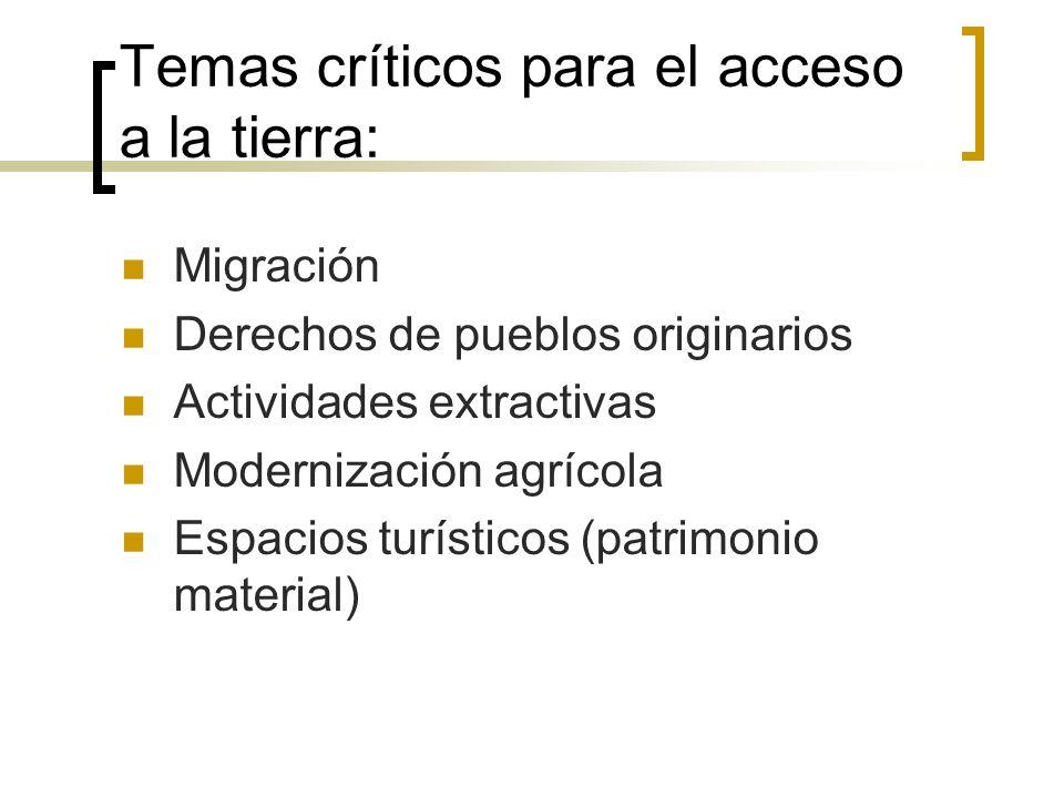 Temas críticos para el acceso a la tierra: Migración Derechos de pueblos originarios Actividades extractivas Modernización agrícola Espacios turísticos (patrimonio material)
