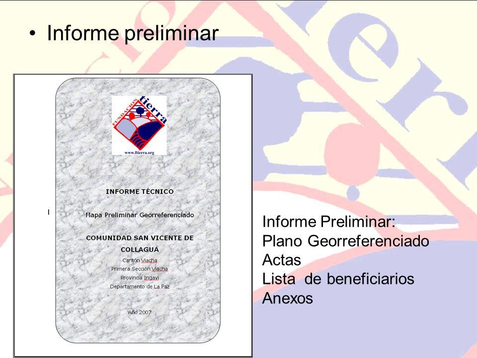 Informe preliminar Informe Preliminar: Plano Georreferenciado Actas Lista de beneficiarios Anexos