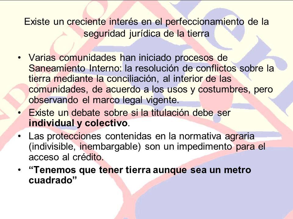 Existe un creciente interés en el perfeccionamiento de la seguridad jurídica de la tierra Varias comunidades han iniciado procesos de Saneamiento Inte